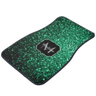 Beautiful Emerald Green sparkles Monogram Car Mat