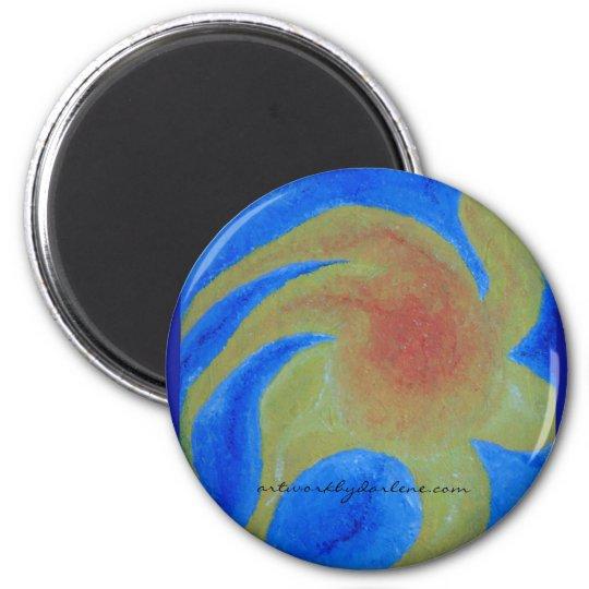 Beautiful empressionist sunshine 6 cm round magnet