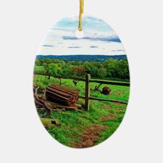 Beautiful English Countryside Ceramic Oval Decoration