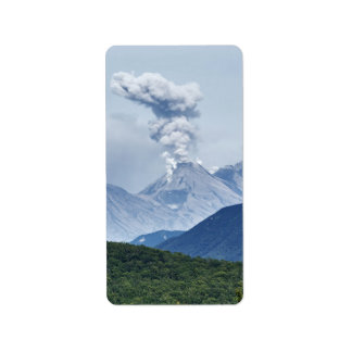 Beautiful eruption volcano and green forest label