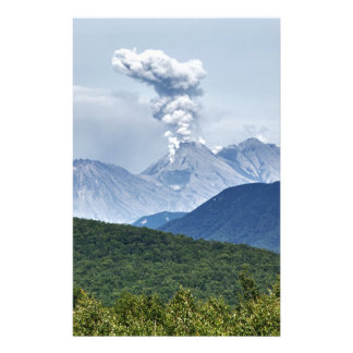 Beautiful eruption volcano in Kamchatka Peninsula Custom Stationery