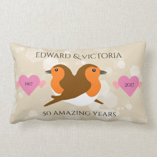 Beautiful European Robins: Any Year Anniversary Lumbar Cushion