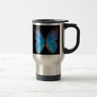 Beautiful exotic blue butterfly coffee mugs