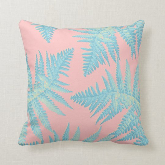 Beautiful exotic cushion with fern leaves