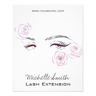 Beautiful eyes Long lashes Roses Lash Extension 11.5 Cm X 14 Cm Flyer