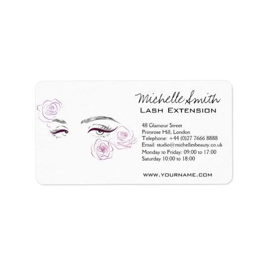 Beautiful eyes Long lashes Roses Lash Extension Address Label
