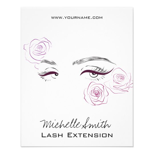 Beautiful eyes Long lashes Roses Lash Extension Flyer