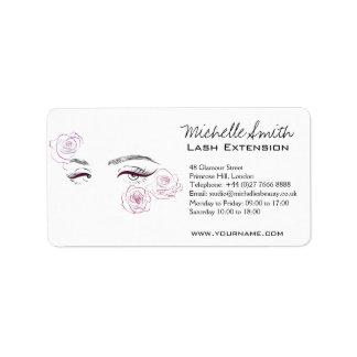 Beautiful eyes Long lashes Roses Lash Extension Label