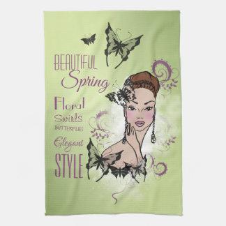 Beautiful Face Fashion Illustration Tea Towel