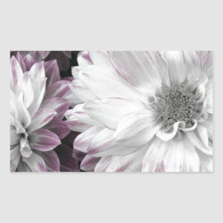 Beautiful faded dahlia print rectangular sticker