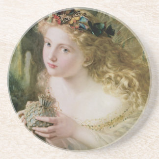 Beautiful Fairy Butterflies, Vintage Victorian Art Coaster