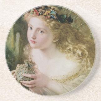 Beautiful Fairy Butterflies, Vintage Victorian Art Coaster