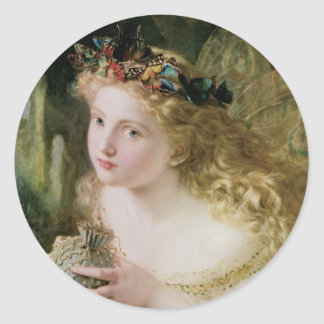 Beautiful Fairy Butterflies, Vintage Victorian Art Round Sticker