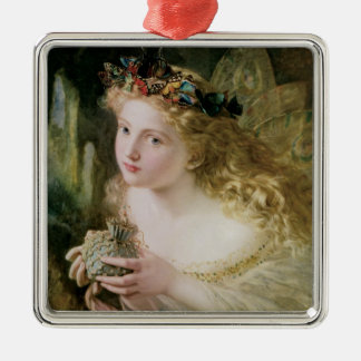 Beautiful Fairy Butterflies, Vintage Victorian Art Silver-Colored Square Decoration