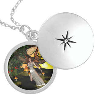 Beautiful fairy round locket necklace