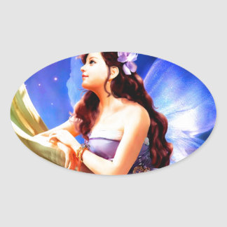 Beautiful Fairy Princess Oval Sticker