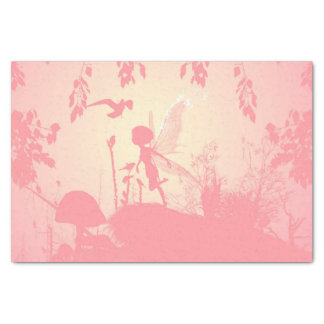 Beautiful  fairy silhouette in pink with birds tissue paper