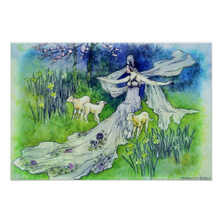 Beautiful Fairy with Lambs, Warwick Goble Art Poster