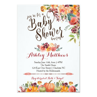 Beautiful Fall Baby Shower Invitation, Card