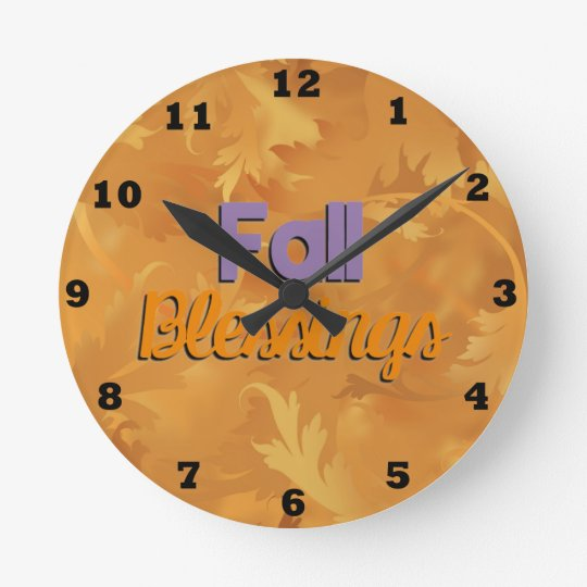 Beautiful Fall Blessings Wall Clock