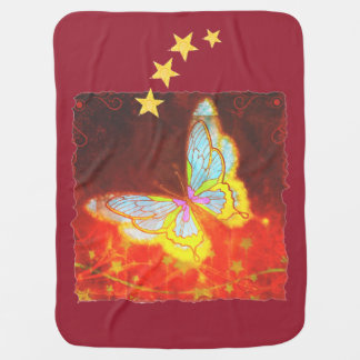 Beautiful Fantasy Butterfly Fireworks Collage Baby Blanket