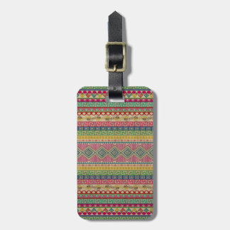 Beautiful fashionable colourful Aztec pattern Bag Tag