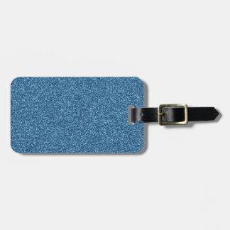 Beautiful fashionable girly blue glitter effect luggage tag