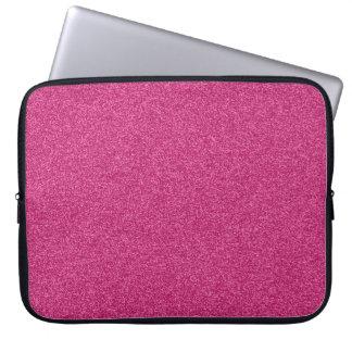 Beautiful fashionable girly hot pink glitter laptop sleeve