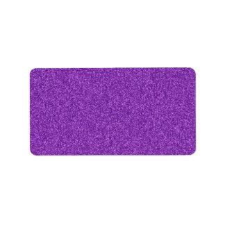 Beautiful fashionable girly purple glitter effect label