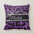 Beautiful faux purple black leopard animal print cushion