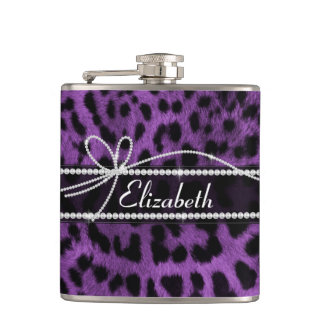 Beautiful faux purple black leopard animal print hip flask