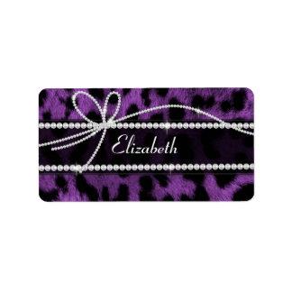 Beautiful faux purple black leopard animal print label
