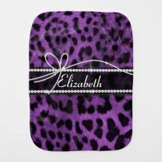 Beautiful faux purple leopard animal fur print burp cloth