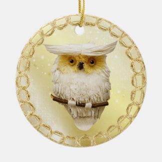 Beautiful Festive Golden Glow Owl Ornament