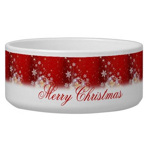 "Beautiful festive ""Merry Christmas"" illustration Dog Food Bowls"