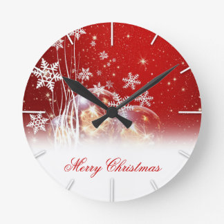 "Beautiful festive ""Merry Christmas"" illustration Round Clock"