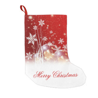 "Beautiful festive ""Merry Christmas"" illustration Small Christmas Stocking"