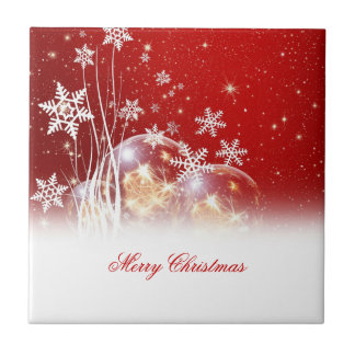 "Beautiful festive ""Merry Christmas"" illustration Small Square Tile"
