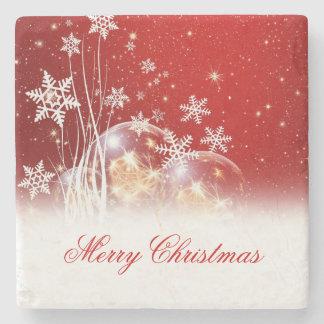 "Beautiful festive ""Merry Christmas"" illustration Stone Coaster"