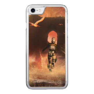 Beautiful fighter carved iPhone 8/7 case