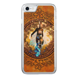 Beautiful fighter in a circle with fire carved iPhone 7 case