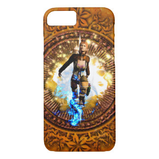 Beautiful fighter in a circle with fire iPhone 7 case