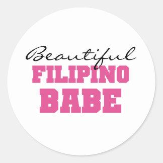 Beautiful Filipino Babe Round Stickers