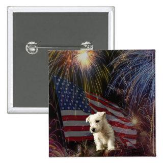 Beautiful Fireworks Celebration - Westie Design 15 Cm Square Badge