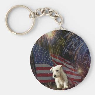 Beautiful Fireworks Celebration - Westie Design Basic Round Button Key Ring