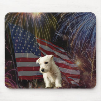 Beautiful Fireworks Celebration - Westie Design Mouse Pad