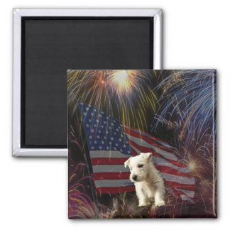Beautiful Fireworks Celebration - Westie Design Square Magnet