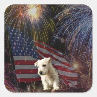 Beautiful Fireworks Celebration - Westie Design Stickers