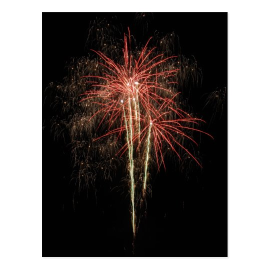 Beautiful fireworks on the black sky background postcard