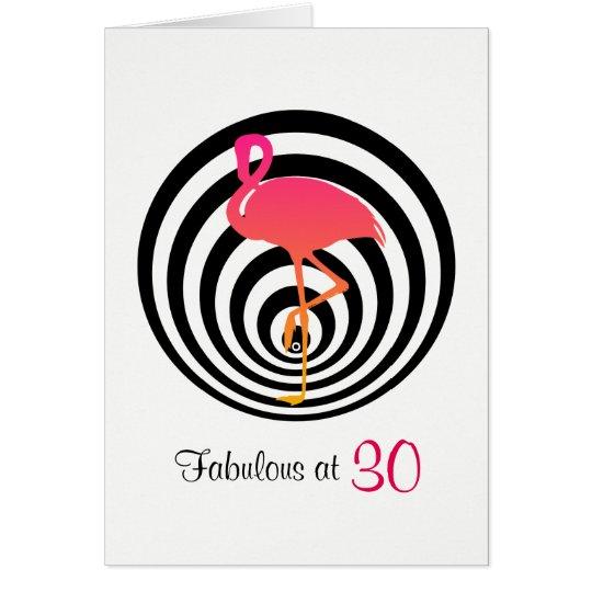 Beautiful flamingo in circles Birthday Card